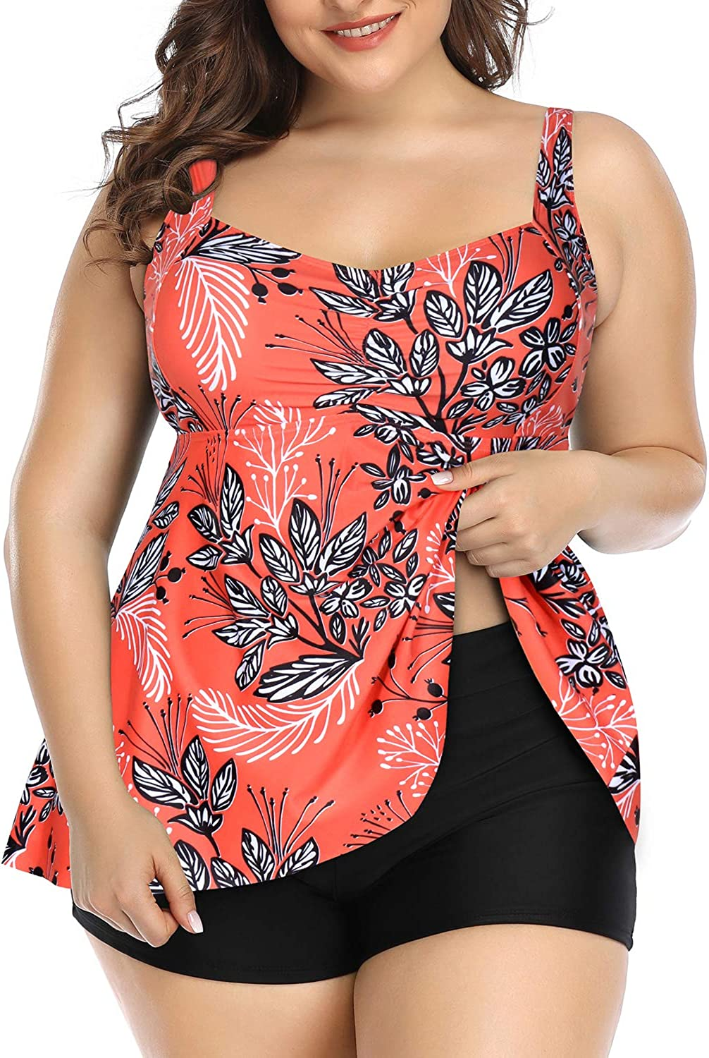 Aqua Eve Women Plus Size Tankini Swimsuits Flowy 2 Pieces Bathing Suits with Shorts
