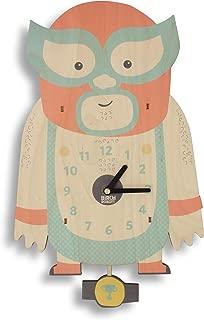 Birch Robot Luchador Wood Wall Pendulum Clock, Wall Decor for Baby Nursery, Kids Playroom, Bedroom, Lucha Libre Wrestling Fans
