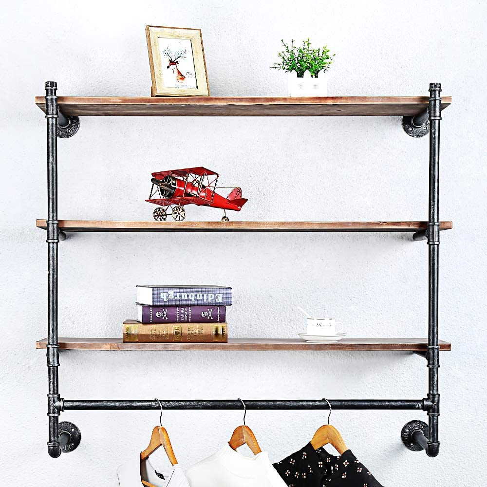 Industrial Pipe Clothing Ranking TOP13 Rack Wall Super Special SALE held Shelf with Wood Real Mounted