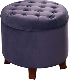 HomePop K6171 B204 Velvet Button Tufted Round Storage Ottoman With  Removable Lid Purple