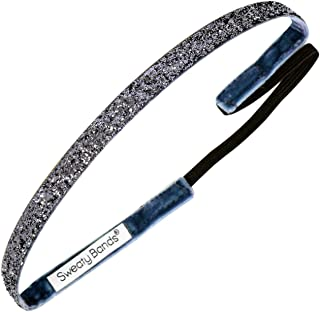 Sweaty Bands Womens Girls Headband - Non-Slip Velvet-Lined Glitter Hairband - Viva Diva Gunmetal 3/8-Inch