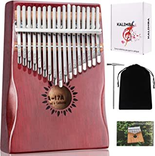 Kalimba 17 Keys Thumb Piano, Portable Finger Piano Mbira, Musical Instrument Gifts for Kids Adult Beginners with Study Instruction and Tuning Hammer