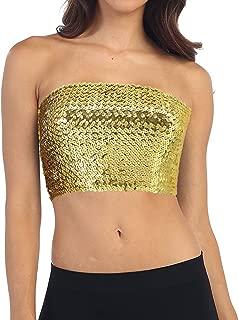 Novia's Choice Women Girls Sequin Off Shoulder Tube Top Blouse Stretchy Chest Wrap Party Crop Top Vest