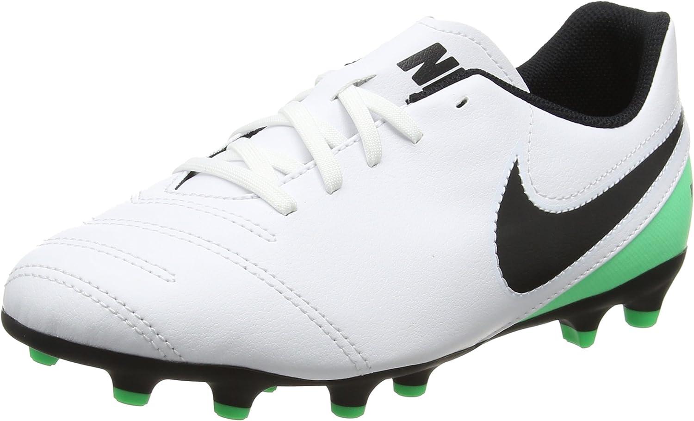 JR Tiempo Rio III FG Kids Football Boots - White Black