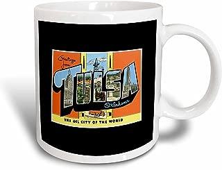 3dRose mug_170551_2 Greetings From Tulsa Oklahoma Oil City of The World Scenic Postcard Ceramic Mug, 15 oz, White