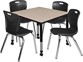 Regency TB4242BEAPCBK40BK Kee Height Adjustable Mobile Classroom Table Set with Four 18