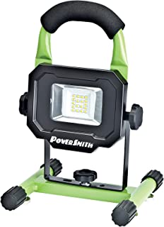 PowerSmith PWLR1110M 900 Lumens Magnet Base with Rechargeable Lithium Ion Battery Portable Work Light with Charger and Metal Stand, Green