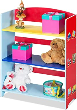 Costzon Kids Bookshelf, 3-Tier Multicolor Cars Book Rack, Adorable Corner Book Organizer, Hand Painted Non-Toxic, Perfect for Books, Toys