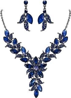 Women's Wedding Bridal Crystal Marquise-Shape Leaf Flower Enamel Statement Necklace Dangle Earrings Set