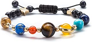 Fesciory Women Solar System Bracelet Universe Galaxy The Eight Planets Guardian Star Natural Stone Beads Bracelet Bangle Gifts for Girls