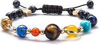 Women Solar System Bracelet Universe Galaxy The Eight Planets Guardian Star Natural Stone Beads Bracelet Bangle Gifts for Girls