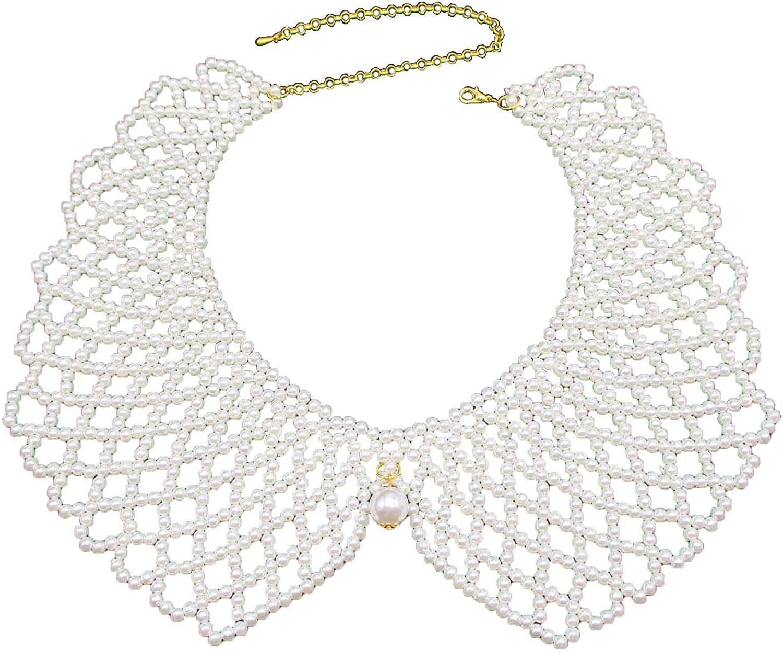 Trimscraft Collar Necklace Simulated Pearl Beads Bib Statement Detachable False Collar for Women