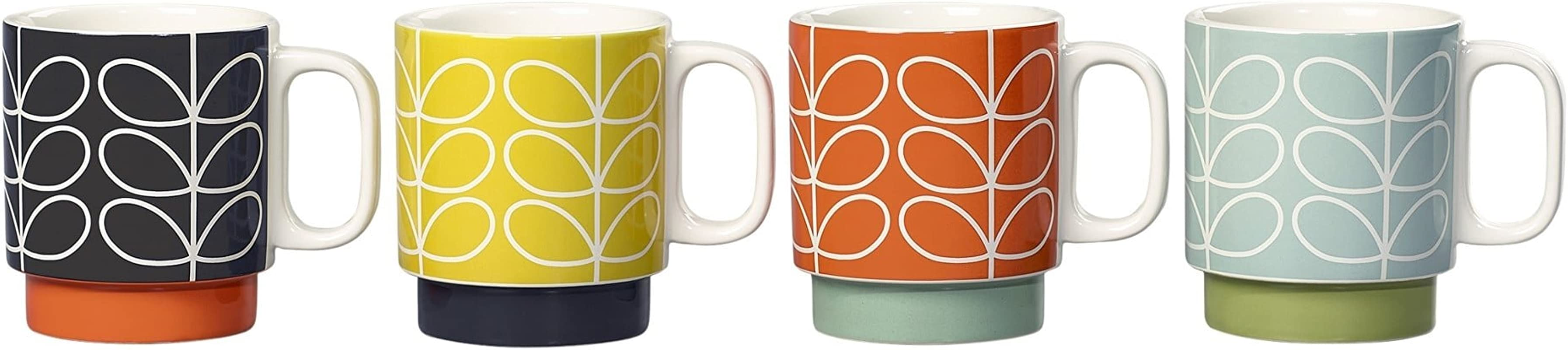 Orla Kiely 70 S Retro Look Linear Stem Print Ceramic Stacking Mugs Set Of 4