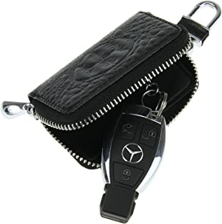 ff76cbe9abec FakeFace Womens Mens Unisex Luxury Genuine Leather Crocodile Car Smart Key  Holder Case Ring Small Zipper
