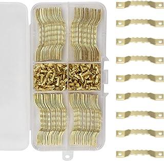 100 Pièces Photo Crochet Fixation pour Photo Cadre en Dents de Scie avec 200 Vis pour Cadre Photo Toile Peinture Horloge