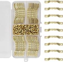 Zaagtand Foto Frame Opknoping Hangers 100 stks Foto Haak Gouden voor Foto Canvas Schilderen Muurmontage Dubbele Gat met Co...