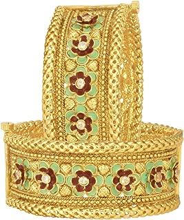 Elegant Set of 2 Bracelet Indian Traditional Bangle Pair Kada Ethnic Bollywood Wedding Fashion Jewelry for Women