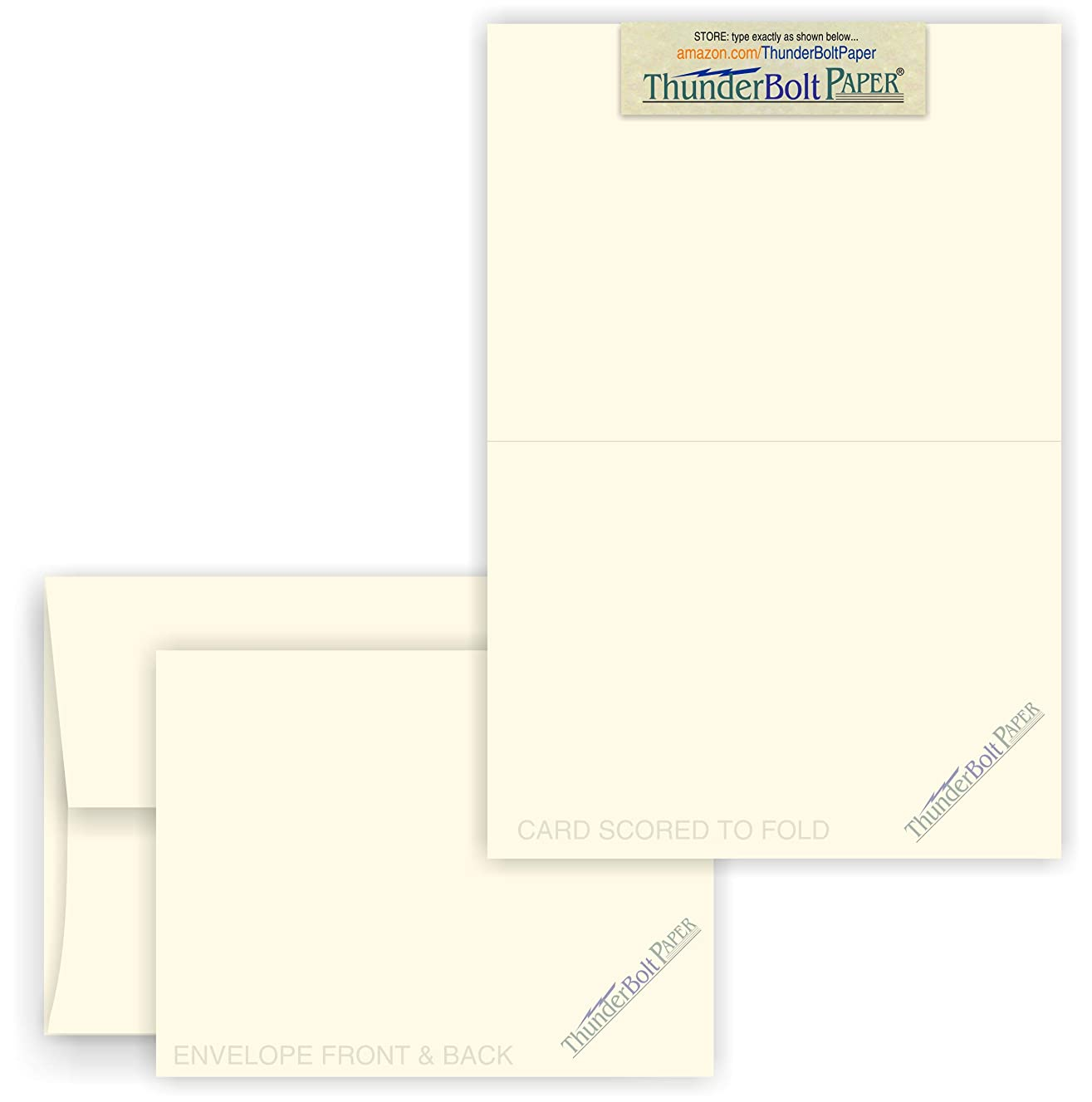 4X6 Folded Size with A-6 Envelopes - Natural Smooth - 50 Sets (6X8 Cards Scored to Fold in Half) Matching Pack - Invitations, Greeting, Thank You, Notes, Holidays, Weddings, Birthdays, Announcements