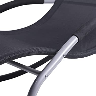Outsunny Zero Gravity Chaise Rocker Patio Lounge Chairs with Recliner w/Detachable Pillow & Durable Weather-Fighting Fabr