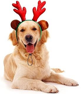 Toozey Dog Christmas Headband, Dog Christmas Antlers with Ears, Lightweight and Soft Dog Christmas Costume, Adjustable Reindeer Antler Headband