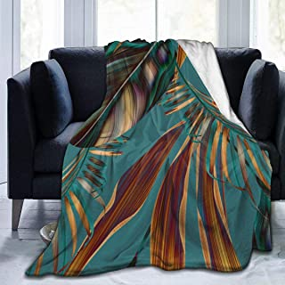 """Fleece Blanket 50"""" x 60""""-Tropical Colorful Leaves Stylish The Arts Home Flannel Fleece Soft Warm Plush Throw Blanket for Bed/Couch/Sofa/Office/Camping"""