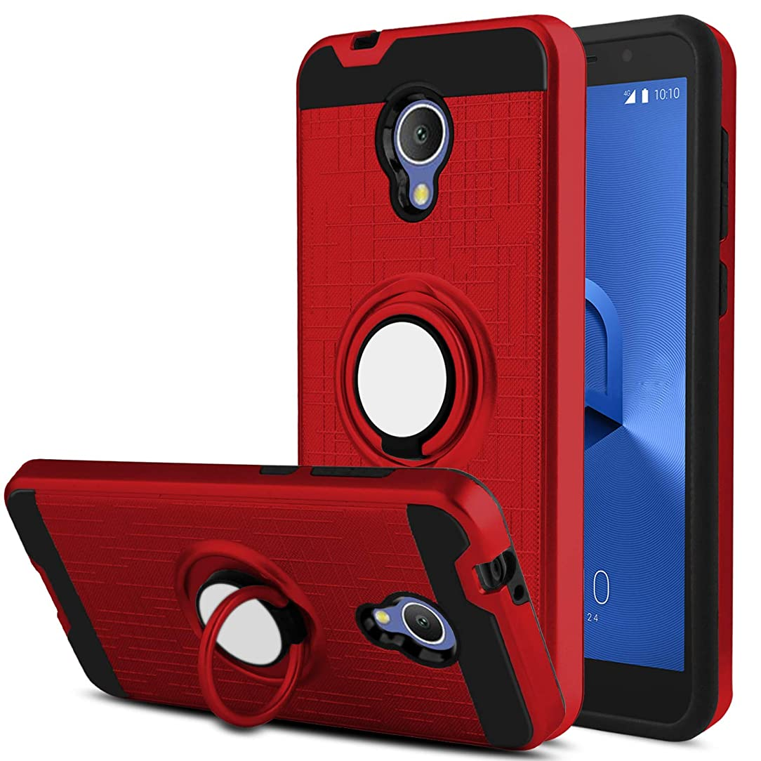 Alcatel 1X Evolve Phone Case, Alcatel Ideal Xtra Case, DONWELL 360 Degree Rotating Ring Holder Kickstand Drop Defender Shockproof Protective Cover for Alcatel TCL LX 2018 (Red)