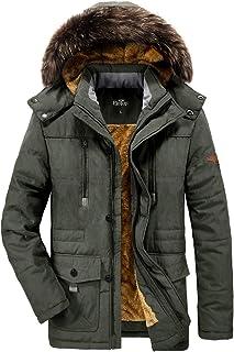 Men`s Winter Coats Thicken Parka Jacket Faux Fur Lined Outerwear Warm Cotton Coat with Detachable Hood Outdoor