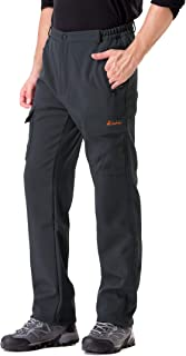 Men's Softshell Fleece-Lined Cargo Pants - Warm, Breathable, Water-Repellent, Wind-Resistant-Insulated