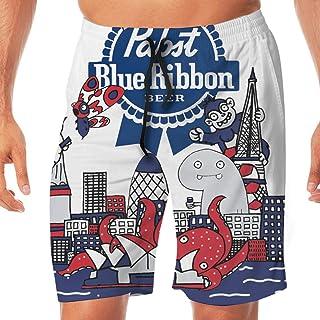 YFFSB Men's Quick-Dry Funny Pabst Blue Ribbon Beer Swim Trunks Beach Shorts