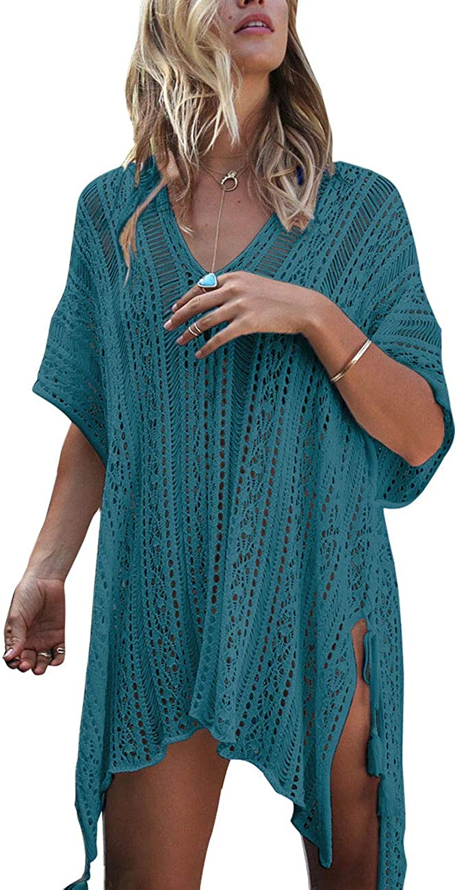 shermie Women Hollow Out Beach Swimsuit Coverups Oversized Short Sleeve V Neck Loose Knit Bikini Cover up/…