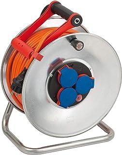 Brennenstuhl Garant S IP44 Kabeltrommel 40m Kabel in orange, Kabeltrommel Outdoor mit Trommelkörper aus Stahlblech, für den Einsatz im Außenbereich