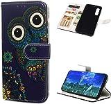Huawei P30 H�lle Lader Tasche PU Lader H�lle Gemalt Muster Flip Brieftasche Kartenhalter Magnetschnalle St�nder Sto�fest Kratzfest Sto�stange Handyh�lle Ethnische Windeule