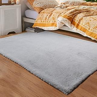 LOCHAS Ultra Soft Faux Fur Area Rugs for Bedroom 3x5 Feet, Fluffy Bedside Rug Mat for Kids Nursery Rugs Living Room Carpets Floor, Grey