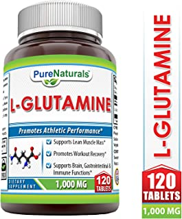 Pure Naturals L-Glutamine Tablets Supplement 1000 Mg 120 Tablets, Supports Muscle Mass* Promotes Workout Recovery* Supports Immune Function*