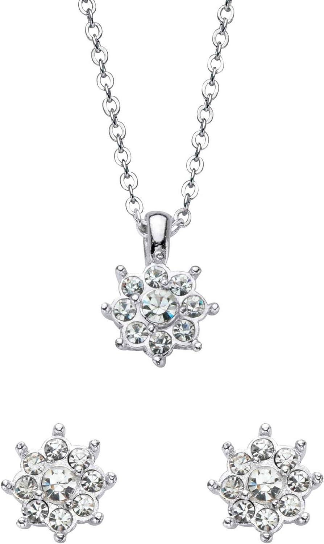 Palm Beach Jewelry Silvertone Round Regular store Crystal Flower Earring 1 year warranty Stud