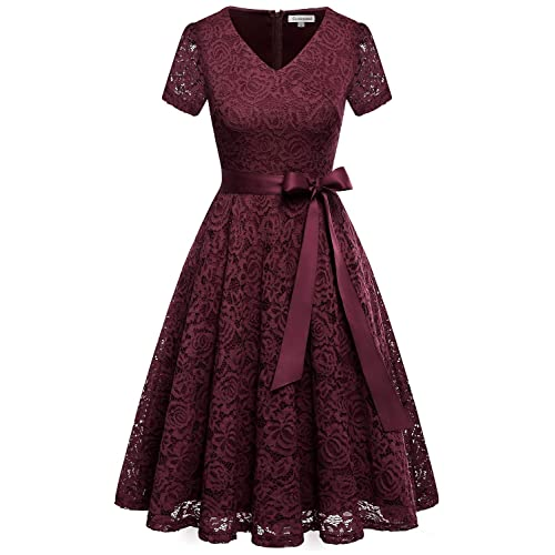 Burgundy Short Lace Dresses Amazoncom