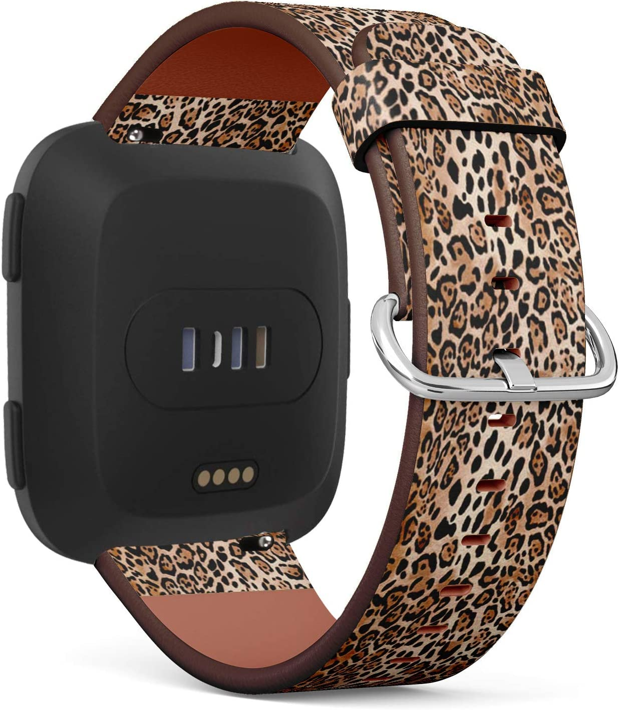 Compatible with Fitbit Versa, Versa 2, Versa Lite - Quick Release Leather Wristband Bracelet Replacement Accessory Band - Natural Animal Print