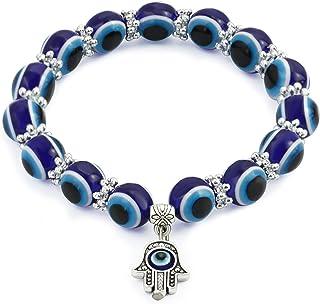 Evil Eye Charm Beaded Frienshipship Bracelet for Women Girls Mens Ojo Hamsa Hand of Fatima Nazar Protection Stretch BFF Br...