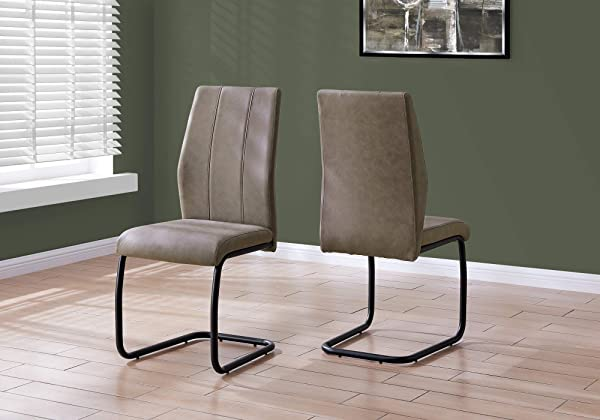 Monarch Specialties I I 1114 CHAIR 2PCS 39 H Fabric Black Metal Dining Chair Taupe
