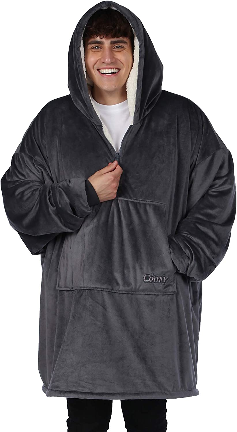 THE COMFY Original Quarter Zip   Oversized Microfiber & Sherpa Wearable Blanket with Zipper, Seen On Shark Tank, One Size Fits All