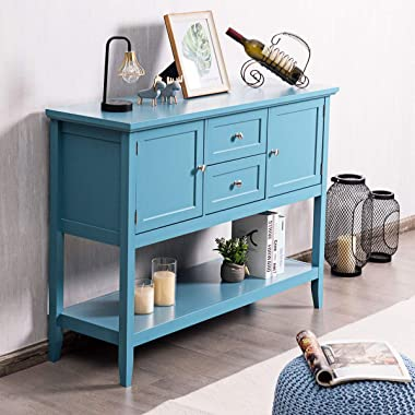 Giantex Buffet Sideboard, Wood Storage Cabinet, Console Table with Storage Shelf, 2 Drawers and Cabinets, Living Room Kitchen