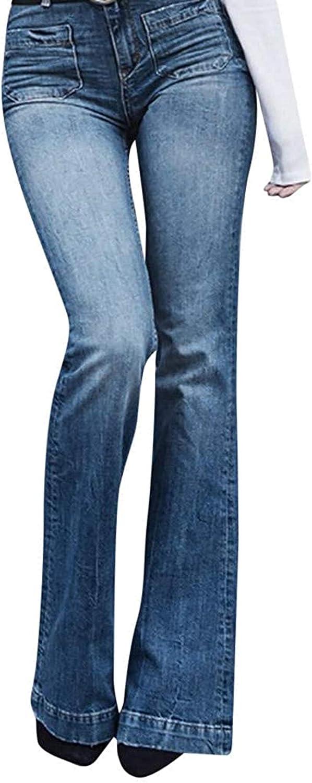 LLTT Soldering Women's Skinny Jeans Hippie High Pants Rise Max 89% OFF Wide Button Leg