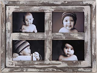 Faunlife Collage Picture Frames Made of Rustic Distressed Weathered Reclaimed Wood - Display Four 4x6 Pictures, White