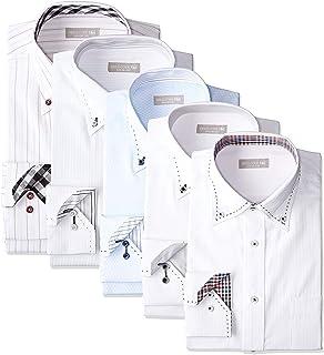 [ドレスコード101] ワイシャツ 福袋 5枚セット 長袖 好印象を与えるデザイン 形態安定 透けにくい Yシャツ おしゃれ カッターシャツ ビジネス レギュラー スリム FUKU-5 メンズ