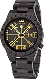 BOBO BIRD Reloj de madera hecho a mano para hombre único rúnico círculo relojes oro símbolo de Vegvisir relojes ligero moda cuarzo reloj