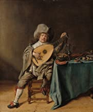 Fine Art Print - Jan Miense Molenaer - Self-Portrait as a Lute Player c. 1635 - Vintage Wall Decor Poster Reproduction - 36in x 44in