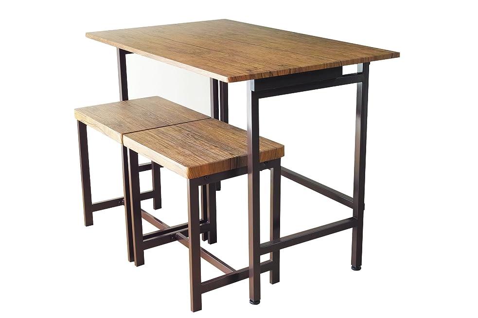 赤主重々しい折りたたみデスク&チェア 3点セット 【FLAP & GRAIN】 リビングデスク 折りたたみ おしゃれ 鉄脚 スツール 幅100cm たためるテーブル デスク コンパクトテーブル ダイニング 木製 ブルックリン