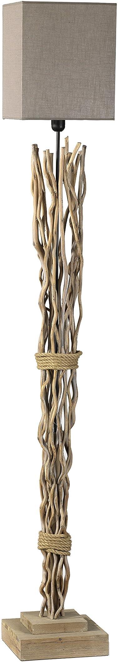 Piantana in legno, paralume in tela color sabbia onli marica 4850/PT