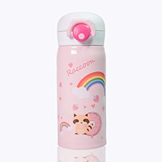 Kids Water Bottle Thermoses Cute Raccoon, Thermal Vacuum Cups for Kids, BPA Free Stainless Steel Insulated Leak-proof Flask for Boys and Girls School Kids Indoor Outdoor Sports (Pink Raccoon-12oz)