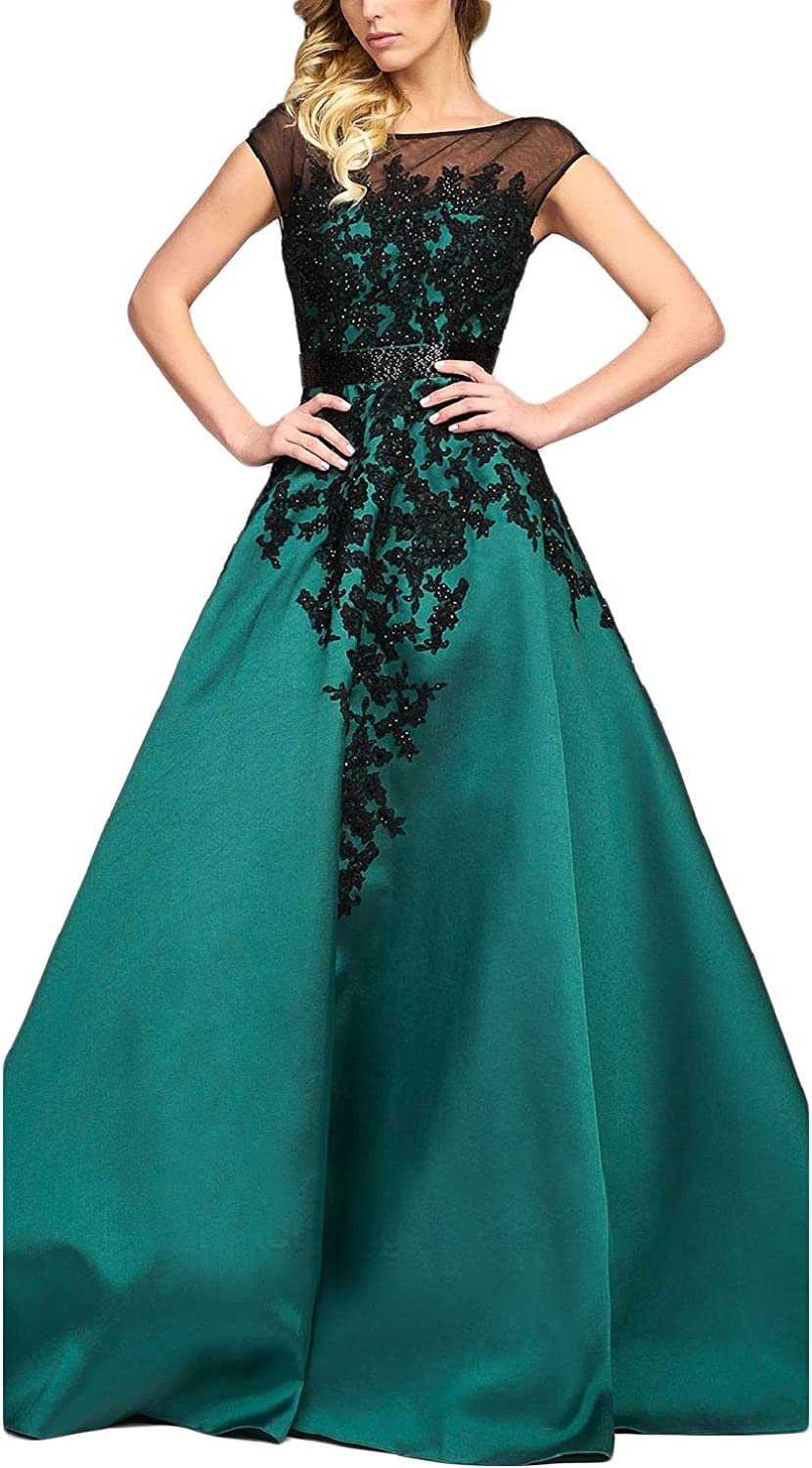 YSMei Womens Long Black Lace Applique Ball Gown Backless Satin Prom Dress YEV035